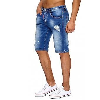 Men's shorts Jeans Torn trousers Men's shorts Stonewashed ripped holes