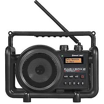 PerfectPro DAB + boks 2 arbeidsplass radio DAB +, FM AUX, Bluetooth-sprutsikre, støvtett, støtbestandig svart