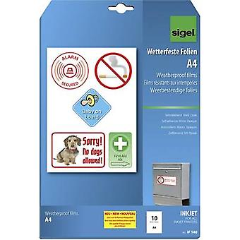 Sigel IF140 Self-adhesive film A4 Inkjet printer White, Opaque 10 pc(s)
