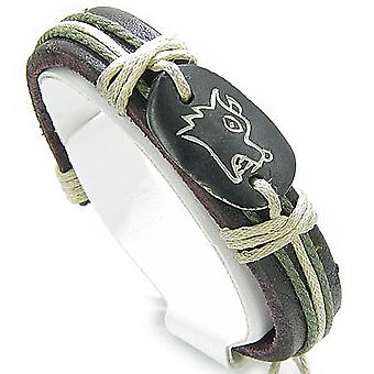 Protection Wolf Leather And Bone Bracelet
