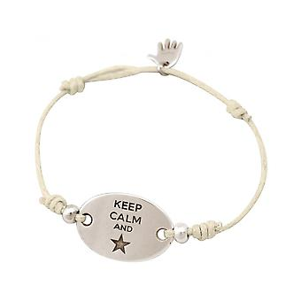 Damen - Armband - Gravur - KEEP CALM - Silberfarben - Nude