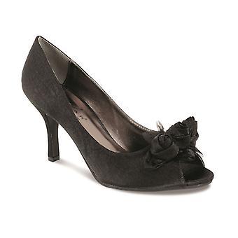 Panie Rose wykończenia platformy pięty Czarny Srebrny damski satynowe buty kopertówka zestaw