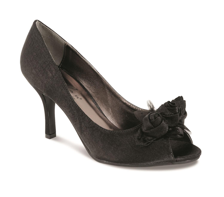 Ladies Rose Trim Platform Heel Black Silver Satin Ladies Shoes Clutch Bag Set