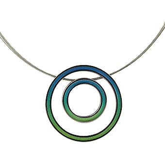 Ti2 Titanium Retro Double Pendant and Wire Cable Necklace - Green/Blue