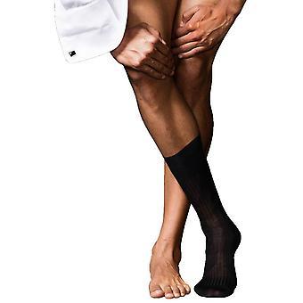 Falke No10 Pure Fil d'Ecosse Smooth Ribbed Knit Socks - Black