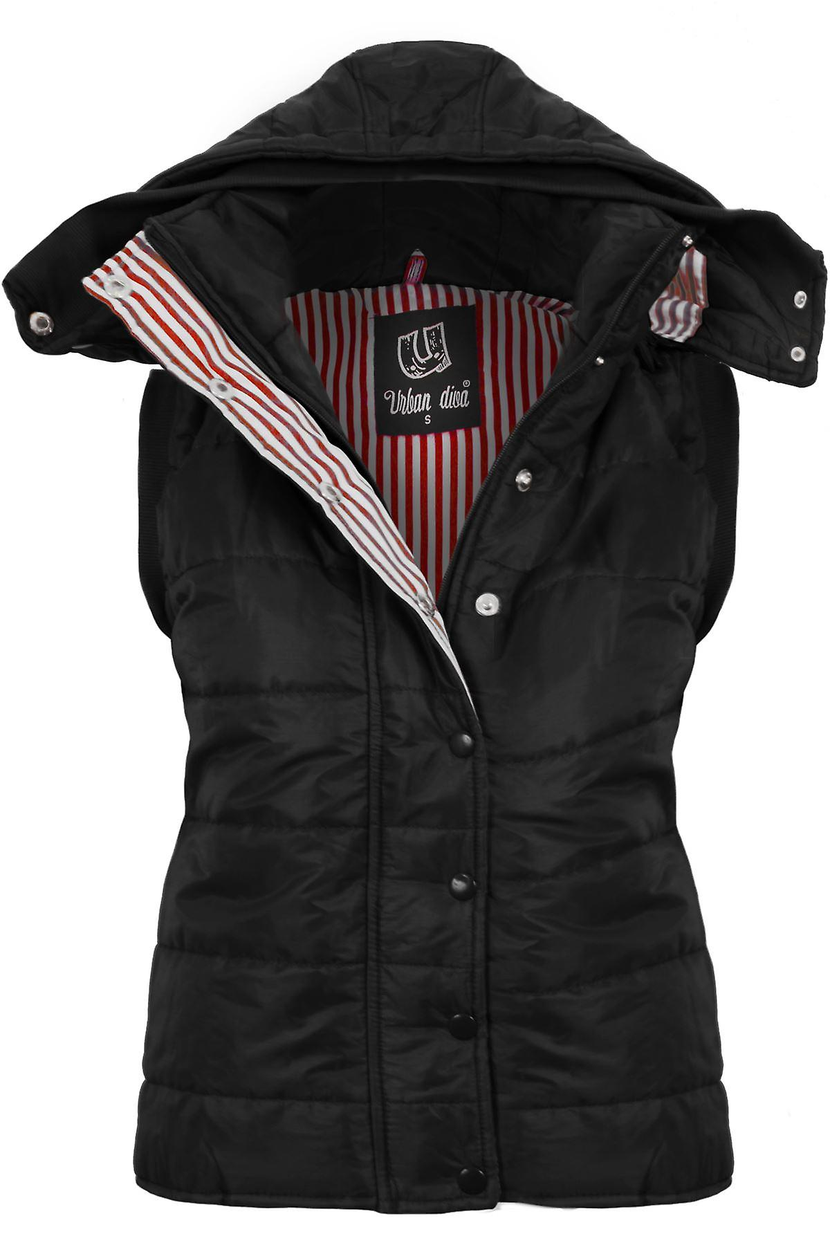 Ladies Sleevless Hooded Quilted Womens Body Warmer Jacket
