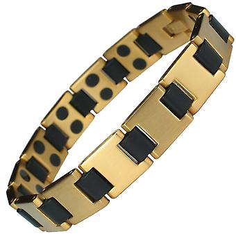 MPS® HORIZON Mens Stainless Steel Magnetic Bracelet Gold Finish + Free Gift Wallet + Free RESIZING TOOL