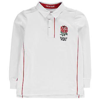 RFU Kids England Long Sleeve Jersey Junior Boys Smart Ribbed Cotton Polo Shirt