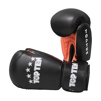 Top dix R2M 2016 gants de boxe 10oz Noir/Orange