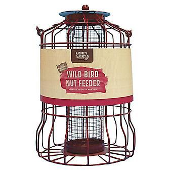 2 x mercado Metal de naturaleza colgante aves silvestres alimentador de tuerca con el protector de la ardilla
