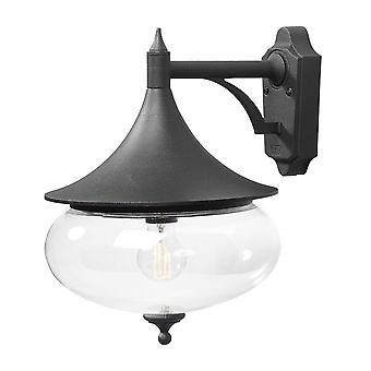 Konstsmide Matt Black Aluminium Libra Traditional Downward Wall Lantern