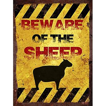 Vintage Metal Wall Sign - Beware of the sheep