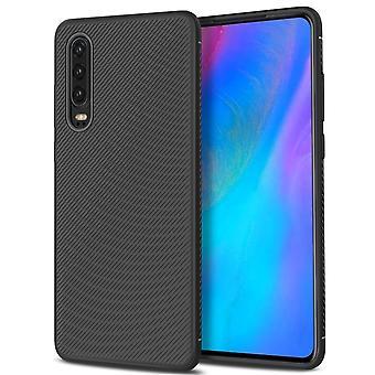 Huawei P30 twill textuur TPU-shell-zwart