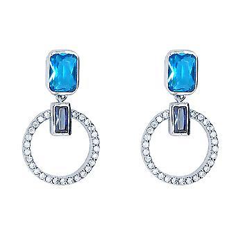 Ah! Jewellery Aquamarine Drop Hoop Crystal from Swarovski Earrings