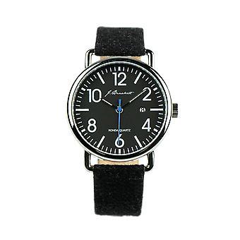 J. Brackett Camden Leather-Band Watch w/Date - Black