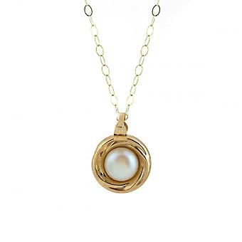 Eternity 9ct Gold Pearl Set In Gold Pendant And 16'' Trace Chain
