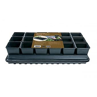 Professional Vegetable Tray Set 18 x 9cm Sq Pots Tray  Water Tray & Cap Mat