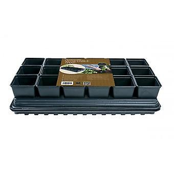 Professionelle Gemüse Tablett Set 18 x 9cm Sq Töpfe Tablett Wasser Tablett & Cap Matte