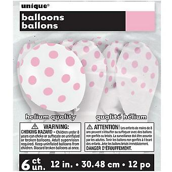 Unique Party Lovely Pink Dots Latex Balloons (Pack Of 6)