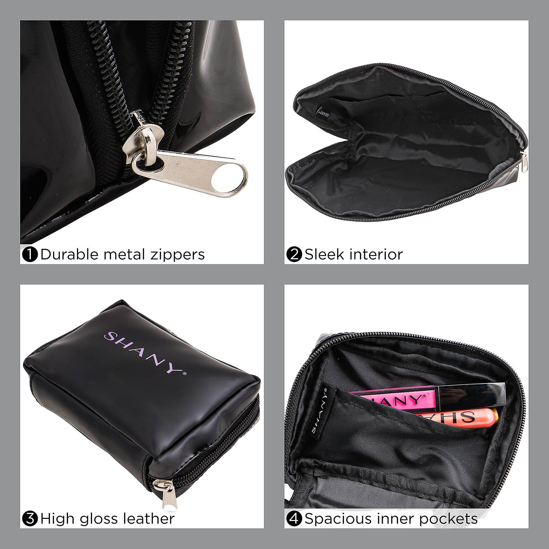 SHANY Black Faux Patent Leather Cosmetic Clutch Set - Three Portable and Waterproof Toiletry Bags with Internal Pockets and Black Nylon Interior - 3 PC