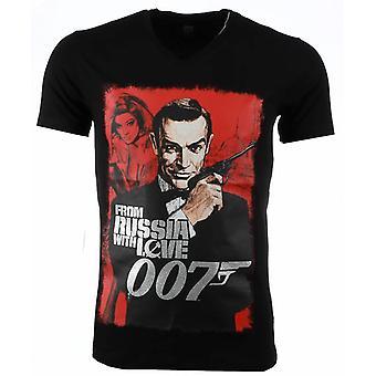 T-shirt-James Bond From Russia 007 Print-Black