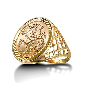Jewelco London Men's Solid 9ct Yellow Gold St George Dragon Slayer Basket Full-Sovereign-Size Ring