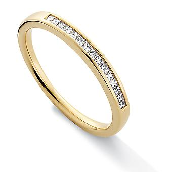 Jewelco London 18ct gult gull diamant 0,15 CT prinsesse evighet gifte ring-2.4 mm