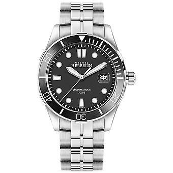 Michel Herbelin Mens Newport Trophy Zilveren armband zwarte wijzerplaat 1660/N14B Watch