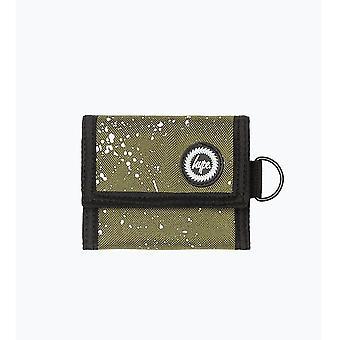 Hype spikkel fade driebladige portemonnee vakantiegeld Coin Note portemonnee kaki/wit