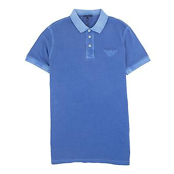Armani Jeans Eagle Logo Garment Polo Dyed Polo Sky Blue
