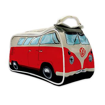 VW Bulli toiletbag washbag red printed, red, 100% polyester, with inner compartments.