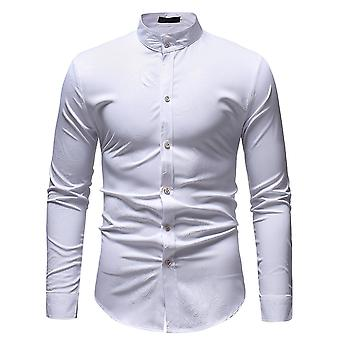 Allthemen Men's Slim Dark Grain Printed Stand Collar Long Sleeve Shirt