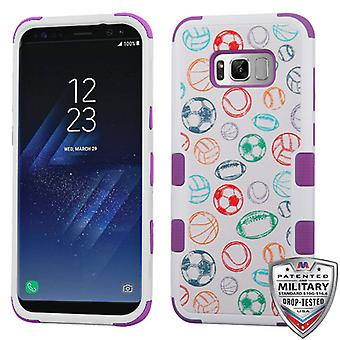 MYBAT Battle Of Balls/Electric Purple TUFF Hybrid Case for Galaxy S8 Plus