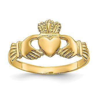 14k Amarelo Ouro Polonês Ladies Irish Claddagh Celtic Trinity Ring Size 7 Joias Presentes para Mulheres