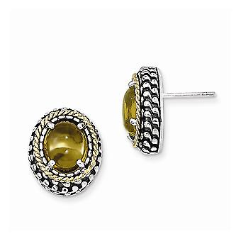 925 Sterling Silver With 14k Antiqued Citrine Post Earrings Jewelry Gifts for Women - 6.90 cwt