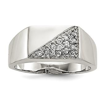 925 Sterling Silver Solid Polished Open back Mens CZ Cubic Zirconia Simulated Diamond Ring Jewelry Gifts for Men - Ring
