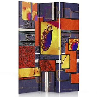 Raumteiler, 3 Panels, einseitig, Leinwand, geometrische Abstraktion 1