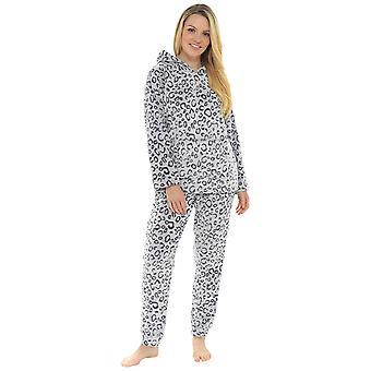 Senhoras Leopard design micro velo Twosie estilo pyjama Set