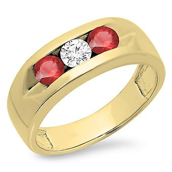 Dazzlingrock Collection 14K Round Ruby & White Diamond Men's Channel Set 3 Stone Wedding Band, Yellow Gold