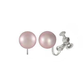 Wieczna kolekcja Mia Lilac Shell Pearl Silver Tone Stud Screw Back Clip Na kolczykach