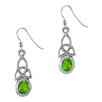 Celtic Holy Trinity Knot Birthstone Drop Pair Of Earrings August - Peridot Stone