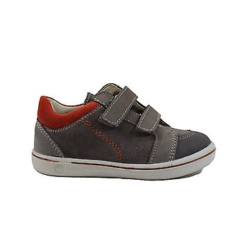 Ricosta Timmy 2622000-460 Gris/Naranja Ante Cuero Niños Rip Cinta Casual Trainer Zapatos