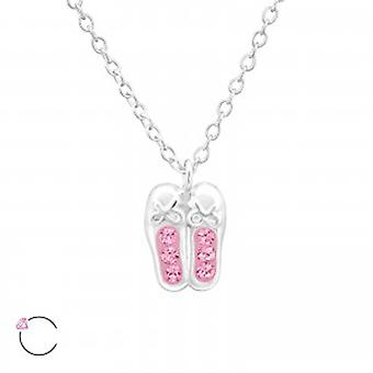 Girls ballet shoes crystal from Swarovski 925 sterling silver necklace
