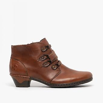 Rieker 76984-24 Ladies Block Heel Ankle Boots Brandy