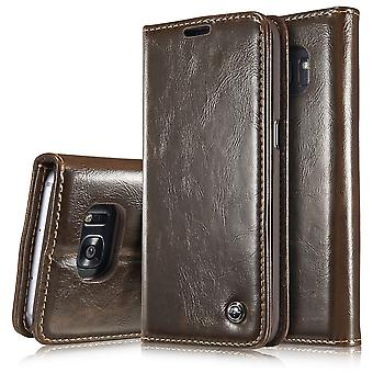 Case For Samsung Galaxy S7 Edge Brown Wallet
