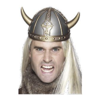 Mens Viking Helmet Hat Gold And Silver Fancy Dress Costume Accessory