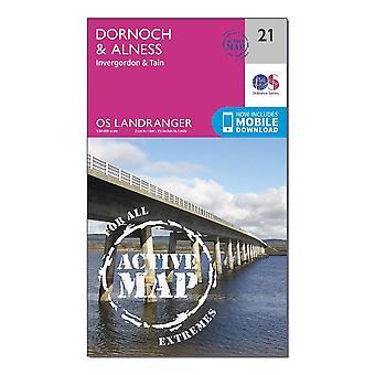 New OS Landranger Active 21 Dornoch & Alness  Invergordon & Tain Map Orange