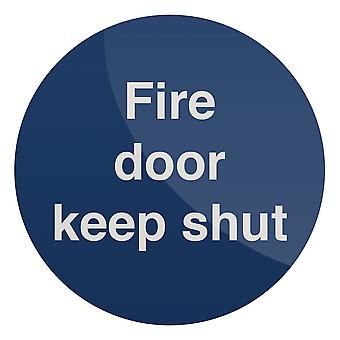 Fire deur Keep sluit Sign-100x100mm zelfklevende