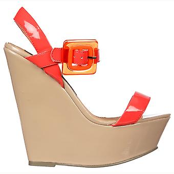 Onlineshoe Retro Style Wedge  - Square Buckled Sandal - Raspberry & Nude