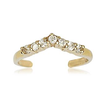 14k Yellow Gold Cubic Zirconia Adjustable V Shape Body Jewelry Toe Ring Jewelry Gifts for Women